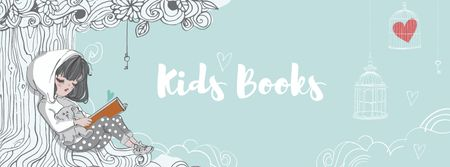 Modèle de visuel Kids Books Offer with Girl reading under Tree - Facebook cover