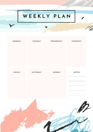 Ontwerpsjabloon van Schedule Planner van Weekly Plan on Ocean Landscape Painting