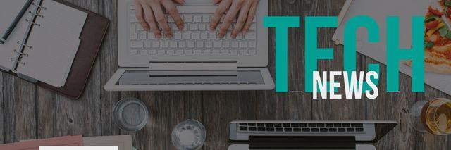 tech news banner Twitter – шаблон для дизайну