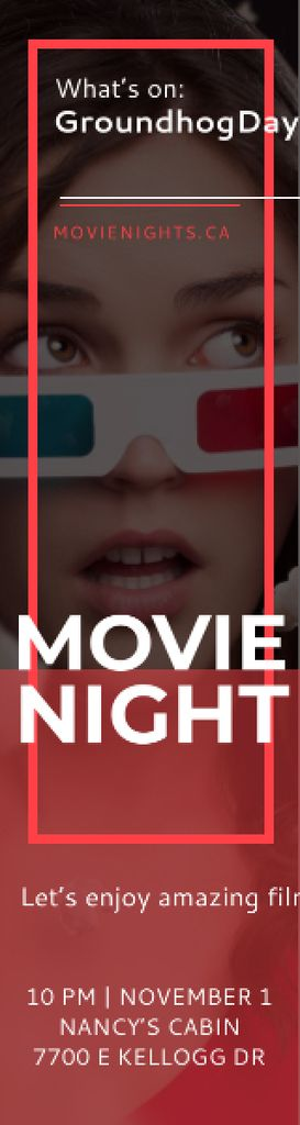 Movie Night Event Woman in 3d Glasses Skyscraper – шаблон для дизайна