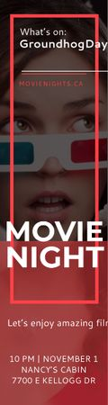 Plantilla de diseño de Movie Night Event Woman in 3d Glasses Skyscraper