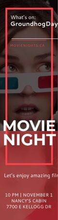 Modèle de visuel Movie Night Event Woman in 3d Glasses - Skyscraper