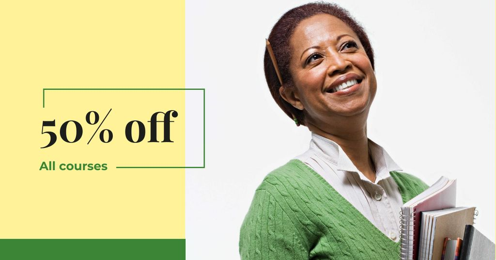 Courses Discount Offer with Smiling Teacher — Crear un diseño