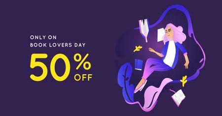 Book Lovers Day Discount Offer Facebook AD – шаблон для дизайну
