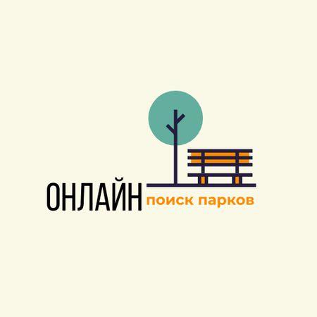 Park Locations Guide Bench Icon Logo – шаблон для дизайна