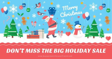 Template di design Christmas sale Offer with Santa holding Gift Facebook AD