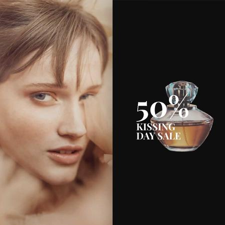 Special Offer Beautiful Tender Woman with Perfume Bottle Animated Postデザインテンプレート