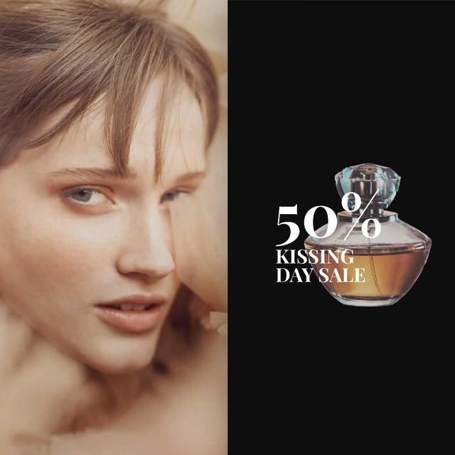 Template di design Special Offer Beautiful Tender Woman with Perfume Bottle Animated Post