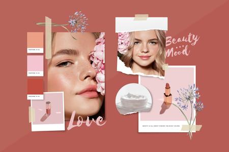Girl with tender Makeup in Pink Mood Board – шаблон для дизайну