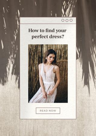 Plantilla de diseño de Wedding Dresses Ad with Beautiful Bride Poster