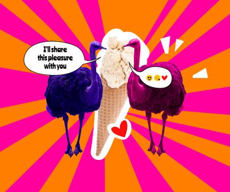 Funny Ostriches eating Big Ice Cream Facebook Modelo de Design