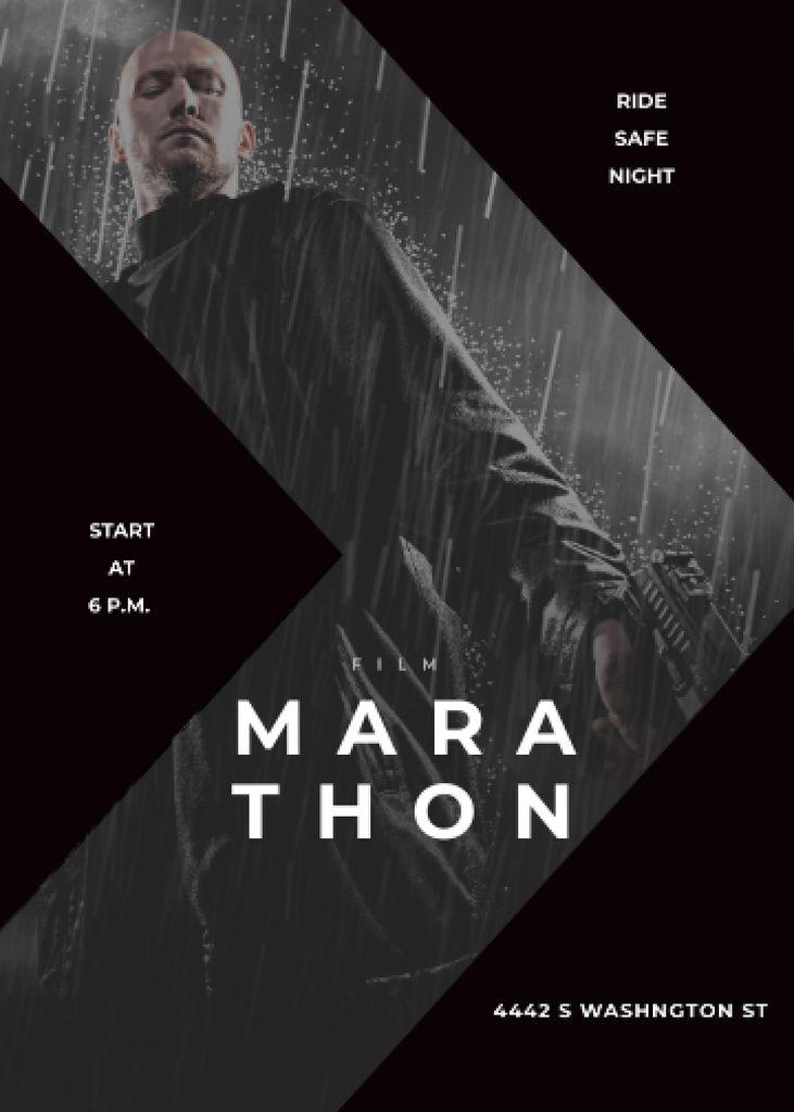 Film Marathon Ad Man with Gun under Rain Flayer Modelo de Design