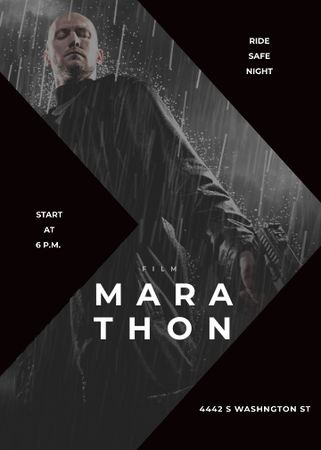 Ontwerpsjabloon van Flayer van Film Marathon Ad Man with Gun under Rain