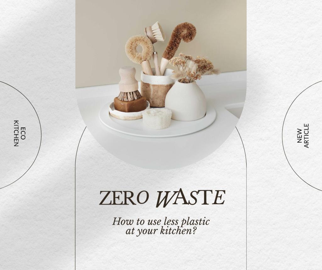 Ontwerpsjabloon van Facebook van Zero Waste Concept with Eco Bathroom Accessories