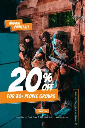 Plantilla de diseño de Paintball Club Ad with People holding Guns Pinterest