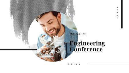 Plantilla de diseño de Engineering Conference Announcement with Smiling Engineer FB event cover