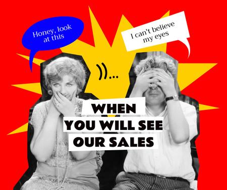 Sale Announcement with Funny People Facebook Modelo de Design