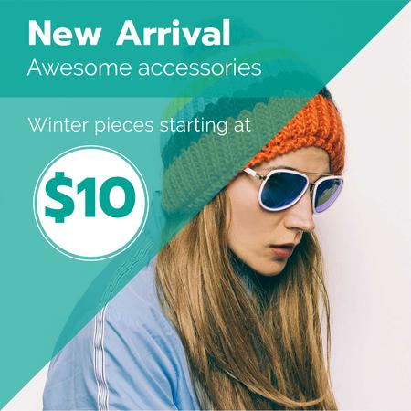 Plantilla de diseño de Winter Sale with Girl in hat and sunglasses Instagram AD