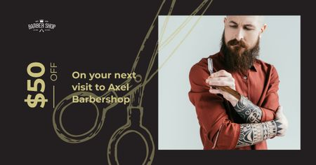 Stylish barber with razor Facebook AD – шаблон для дизайна