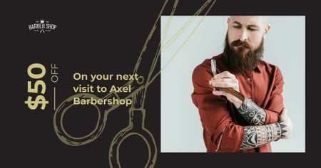 Plantilla de diseño de Stylish barber with razor Facebook AD