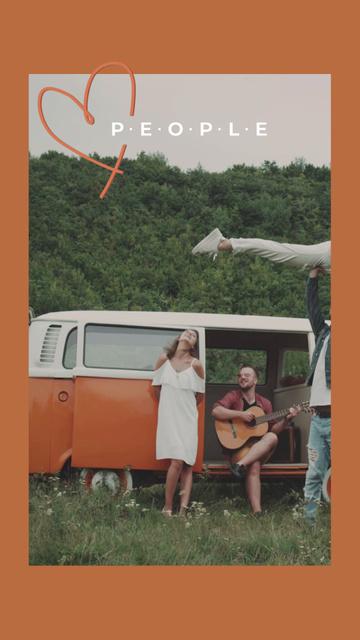 Modèle de visuel Friends having fun near Old Vintage Bus - TikTok Video