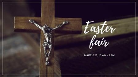 Easter Fair Announcement with Wooden Cross FB event cover – шаблон для дизайну