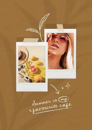 Inspiration with Beautiful Young Woman and Summer Cocktails Poster Tasarım Şablonu