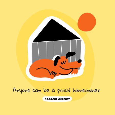 Real Estate Agency Ad with Cute Dog Instagram – шаблон для дизайну