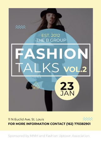 Modèle de visuel Fashion talks announcement with Stylish Woman - Invitation