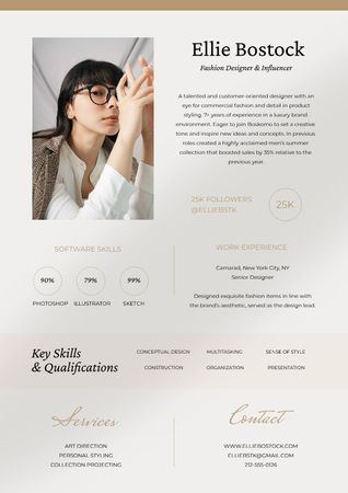 Fashion Designer skills and experience Resume Modelo de Design