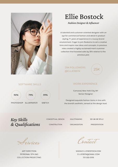 Fashion Designer skills and experience Resume – шаблон для дизайну