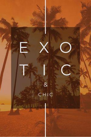 Exotic Tropical Resort Palms in Orange Tumblr – шаблон для дизайна