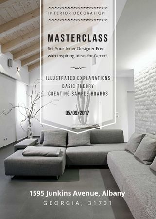 Template di design Interior decoration masterclass with Sofa in grey Flayer