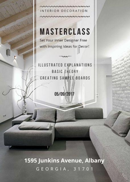 Plantilla de diseño de Interior decoration masterclass with Sofa in grey Flayer