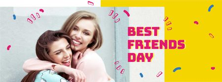 Best Friends Day Announcement with Girls hugging Facebook cover Tasarım Şablonu
