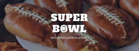 Template di design Super Bowl event with Rugby Ball-Shaped Pies Facebook cover
