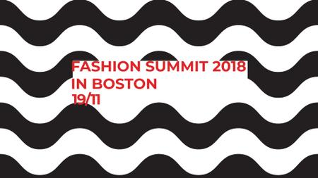 Fashion Summit invitation on Waves in Black and White FB event coverデザインテンプレート