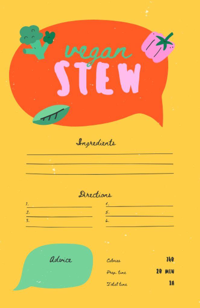 Vegan Stew Cooking Steps Recipe Card Modelo de Design