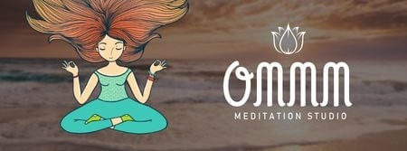 Designvorlage Woman mediating at the beach für Facebook Video cover