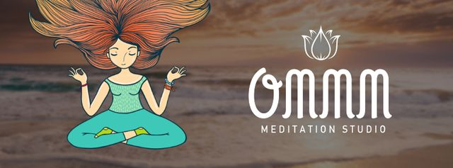 Modèle de visuel Woman mediating at the beach - Facebook Video cover
