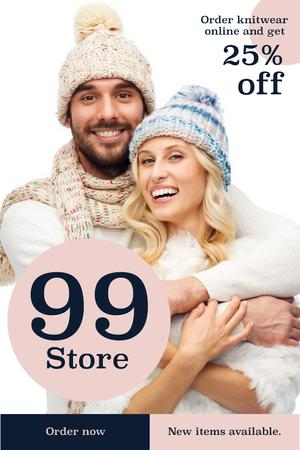 Modèle de visuel Online knitwear store with Smiling Couple - Pinterest