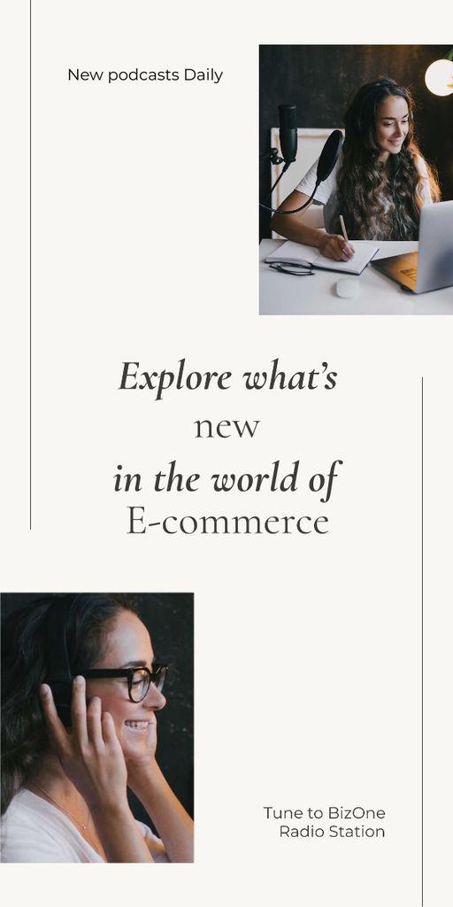 Template di design Girl recording Podcast about E-commerce Graphic