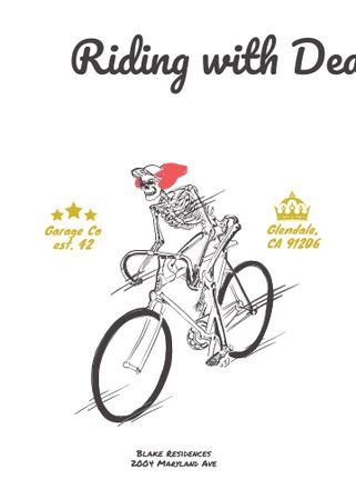 Ontwerpsjabloon van Invitation van Cycling Event with Skeleton Riding on Bicycle