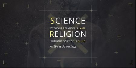 Plantilla de diseño de Citation about science and religion Twitter