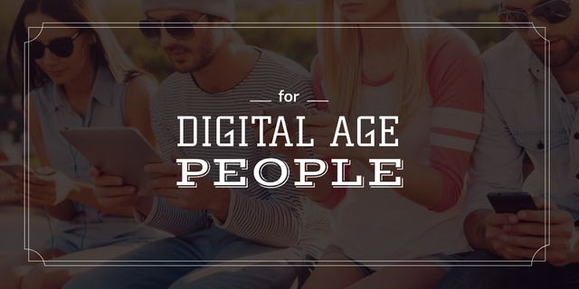 Young people with digital gadgets Twitter – шаблон для дизайна