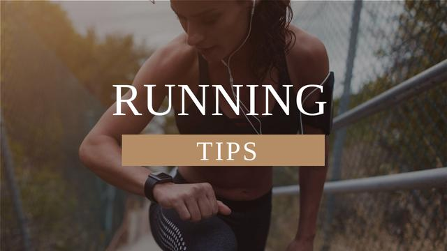 Running Tips Woman Running in City Youtube Thumbnail Πρότυπο σχεδίασης