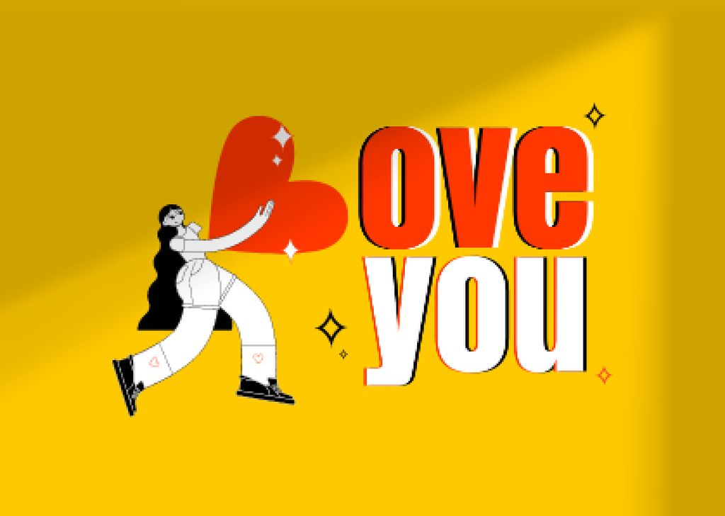 Love Phrase with Girl holding Big Heart Card – шаблон для дизайна