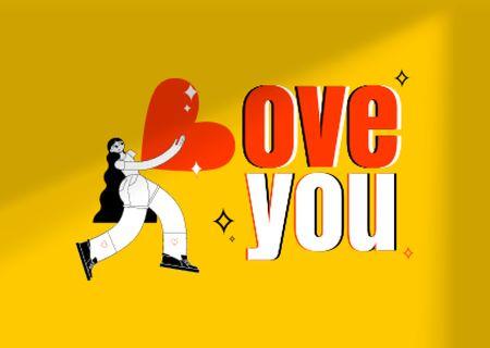 Plantilla de diseño de Love Phrase with Girl holding Big Heart Card