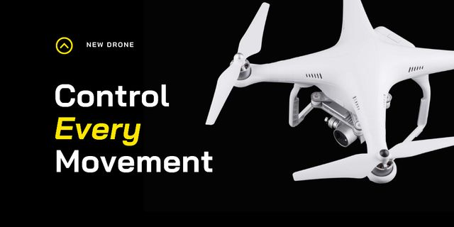 Innovation Technologies Ad with Modern Drone Twitter Design Template