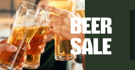 Template di design Beer Sale with People holding Glasses Facebook AD